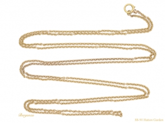 front-view-Antique-gold-long-guard-chain-berganza-hatton-garden