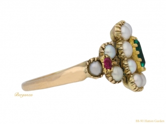 front-view-antique-ruby-pearl-emerald-ring-berganza-hatton-garden