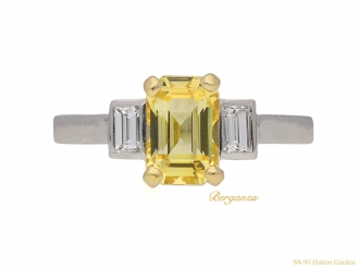 front-veiw-art-deco-diamond-yellow-sapphire-ring-berganza-hatton-garden