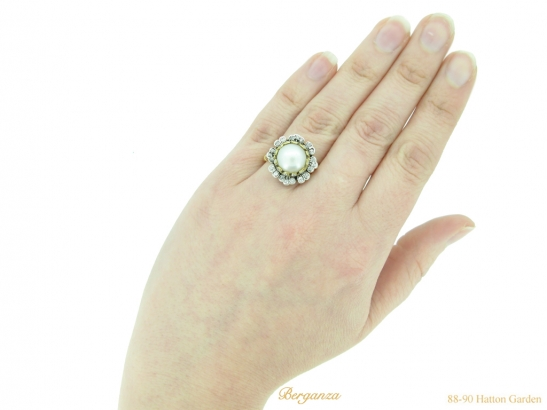 hand-view-pearl-diamond-floral-cluster-ring-berganza-hatton-garden