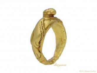 front-view-ancient-norman-gold-lion-ring-berganza-hatton-garden