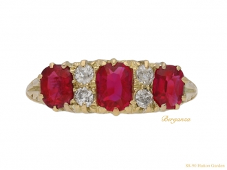 front-veiw-Antique-ruby-diamond-carved-ring-berganza-hatton-garden