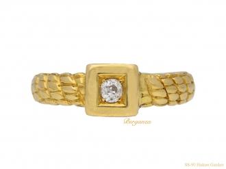 front-view-antique-diamond-carved-ring-berganza-hatton-garden