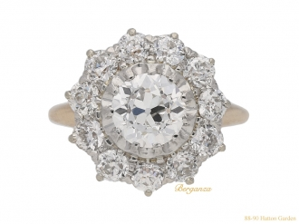 front-view-antique-cluster-diamond-ring-berganza-hatton-garden