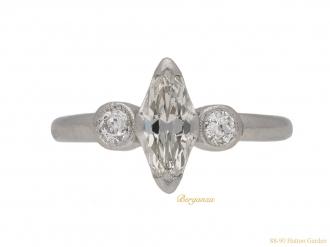 front-view-Art-Deco-marquise-diamond-ring-berganza-hatton-garden