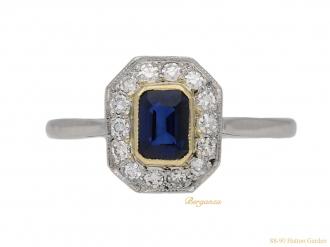 front-vintage-diamond-sapphire-cluster-ring-berganza-hatton-garden