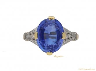 front-Antique-Ceylon-sapphire-diamond-ring-berganza-hatton-garden