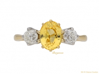 front-vintage-Yellow-sapphire-diamond-ring-berganza-hatton-garden