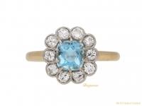 front-antique-Diamond-aquamarine-ring-berganza-hatton-garden