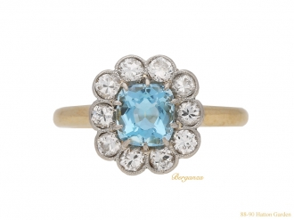 front-antique-Diamond-aquamarine-ring-berganza-hatton-garden