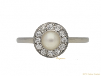 front-Natural-pearl-diamond-ring-berganza-hatton-garden