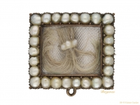 front view Georgian pearl hair brooch with locket back opening.circa 1770-berganza-hatton garden