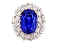 Important Ceylon sapphire and diamond bombé cluster ring, circa 1960..
