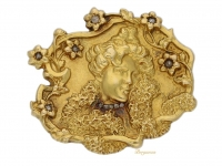 front view Signed Art Nouveau gold brooch set with rose cut diamonds, circa 1900. berganza hatton garden