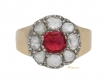 alt='front view Antique ruby and diamond coronet cluster ring, circa 1800.'