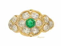 front view Antique emerald and diamond cluster ring, circa 1870.