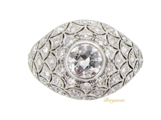 front view Bombé diamond cluster ring, circa 1930.