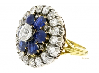 front-view-Antique-Sapphire-and-Diamond-coronet-cluster-ring/pendant,-circa-1880.-berganza-hatton-garden