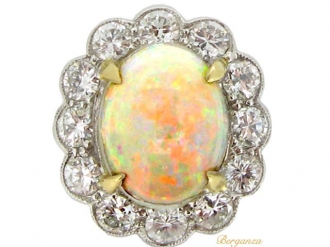 front-view-Opal and diamond coronet cluster ring, circa 1950.