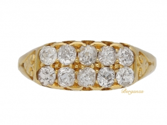 front-view-Antique-two-row-diamond-ring-berganza-hatton-garden