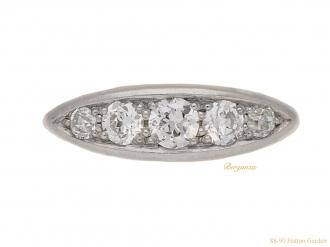 front-view-Antique-five-stone-diamond-ring-berganza-hatton-garden