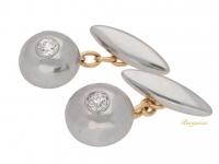 front view Diamond set cufflinks in platinum and gold, circa 1920.