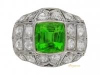 front-view-antique-Peridot-diamond-ring-berganza-hatton-garden