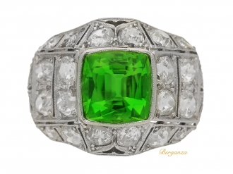 front-view-antique-Peridot-diamond-ring-berganza-hatton-garden