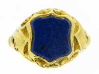 Antique lapis signet ring, circa 1890.