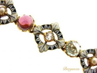 front-view-Carlo & Arthur Giuliano enamel gemset bracelet, circa 1900.