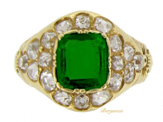 front view Antique emerald and diamond cluster ring