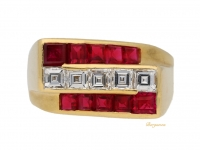 front view Oscar Heyman Brothers ruby and diamond ring, American, circa 1940.