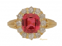 front view Antique red spinel and diamond cluster ring, circa 1890.