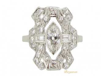 front-view-Diamond cluster ring with marquise diamond to centre, circa 1950.
