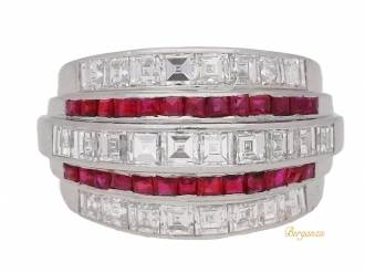 front view Oscar Heyman Brothers ruby and diamond ring, American, circa 1935.