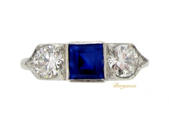 front-view-Sapphire and diamond three stone ring, circa 1935.