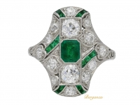 front view Edwardian emerald and diamond ring, circa 1910.