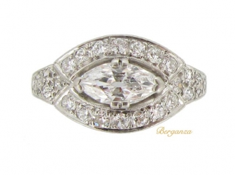 front-view-Marquise diamond cluster ring, circa 1935.