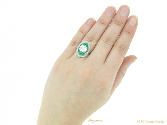 hand-view-antique-diamond-emerald-ring-berganza-hatton-garden