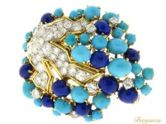 front-view-Boucheron-turquoise-lapis-diamond-brooch-berganza-hatton-garden