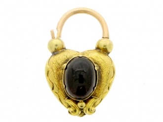 front-view-Antique padlock set with garnet and hair