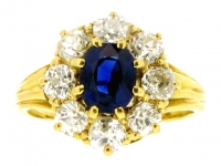 Antique sapphire and diamond cluster ring in gold, circa 1900.