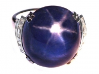 Art Deco Burmese star sapphire and diamond ring, circa 1935.
