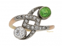 front view Diamond and demantoid garnet cross over ring, Russian, circa 1880.