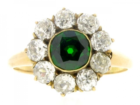 Antique Demantoid and Diamond Cluster Ring in Yellow Gold, circa 1900.
