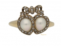 front view Antique double heart pearl cluster ring, circa 1870.