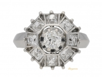 front view Art Deco diamond coronet cluster ring, French, circa 1935.