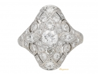 front view Round and marquise diamond cluster ring, American, circa 1935.