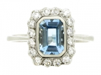 Aquamarine and diamond cluster ring, circa 1950.