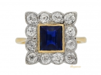 front-view-Sapphire-and-diamond-coronet-cluster-ring,-circa -1915.-berganza-hatton-garden